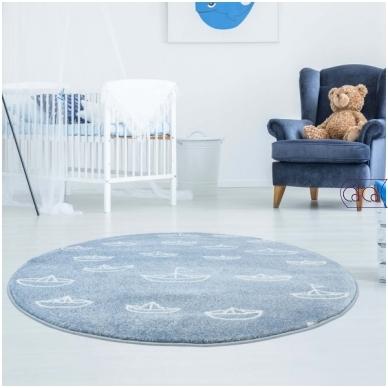 """Apvalus kilimas vaikų kambariui """"Laiveliai"""""""