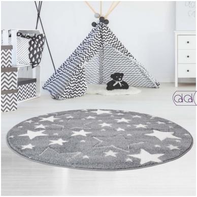 """Apvalus kilimas vaikų kambariui """"Pilkos žvaigždutės"""""""