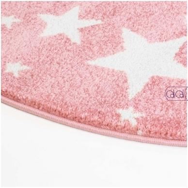 """Apvalus kilimas vaikų kambariui """"Rožinės žvaigždutės"""" 3"""