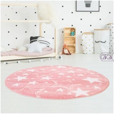 """Apvalus kilimas vaikų kambariui """"Rožinės žvaigždutės"""""""