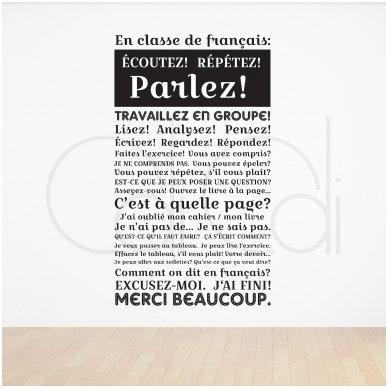 """Stickers muraux français """"En classe de français"""""""