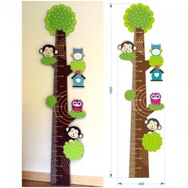 """Medinė ūgio matuoklė """"Pelėdos ir bezdžionėlės"""" 3"""