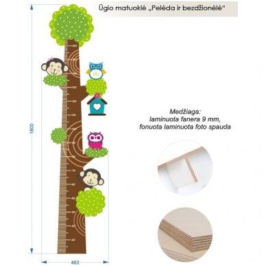 """Medinė ūgio matuoklė """"Pelėdos ir bezdžionėlės"""" 4"""