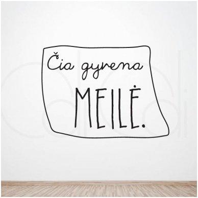 """Sienos lipdukas """"Čia gyvena LAIMĖ/MEILĖ"""" 2"""