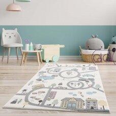"""Stačiakampis kilimas vaikų kambariui """"Miestelis"""""""