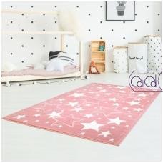 """Stačiakampis kilimas vaikų kambariui """"Rožinės žvaigždutės"""""""