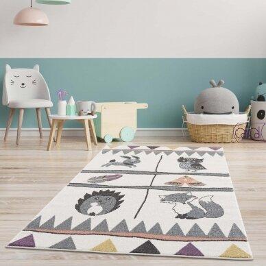 """Stačiakampis kilimas vaikų kambariui """"Boho gyvūnai"""""""