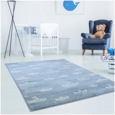 """Stačiakampis kilimas vaikų kambariui """"Laiveliai"""""""