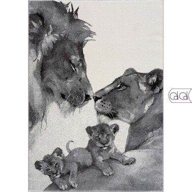 """Stačiakampis kilimas vaikų kambariui """"Liūtų šeima"""""""