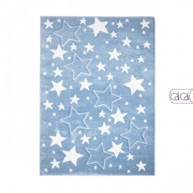 """Stačiakampis kilimas vaikų kambariui """"Melsvos žvaigždutės"""" 3"""