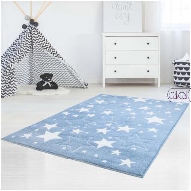 """Stačiakampis kilimas vaikų kambariui """"Melsvos žvaigždutės"""""""
