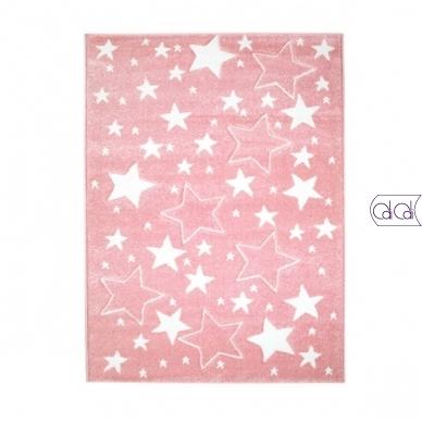 """Stačiakampis kilimas vaikų kambariui """"Rožinės žvaigždutės"""" 3"""