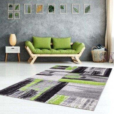 """Stačiakampis kilimas vaikų kambariui """"Žali potėpiai"""" 2"""
