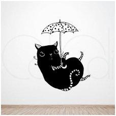 """Lipdukas ant sienos """"Katinas su skėčiu"""""""